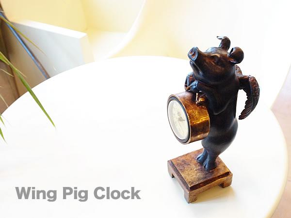 天使雑貨 置き時計 ウイングピッグクロック 天使 アンティーク雑貨 おしゃれ雑貨 ぶた雑貨