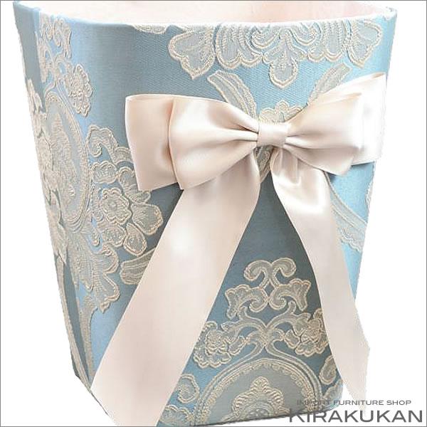 アクアフラワー オペラブルー:ダストボックス ゴミ箱 スクエア小物入れ リボン ごみ箱 ジェニファーテイラー ボックス スタイル おしゃれ 雑貨