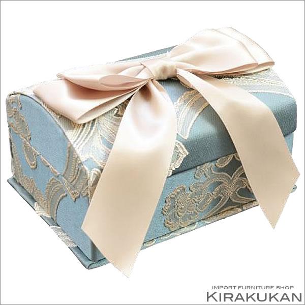 アクアフラワー オペラブルー:ボックス3点セット 収納ボックス リボン リボン ごみ箱 ジェニファーテイラー ボックス スタイル おしゃれ 雑貨