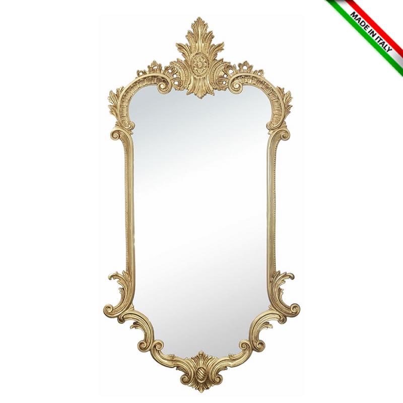 イタリア製 クラシックスタイル 壁掛けミラー ゴールド・鏡 木彫風