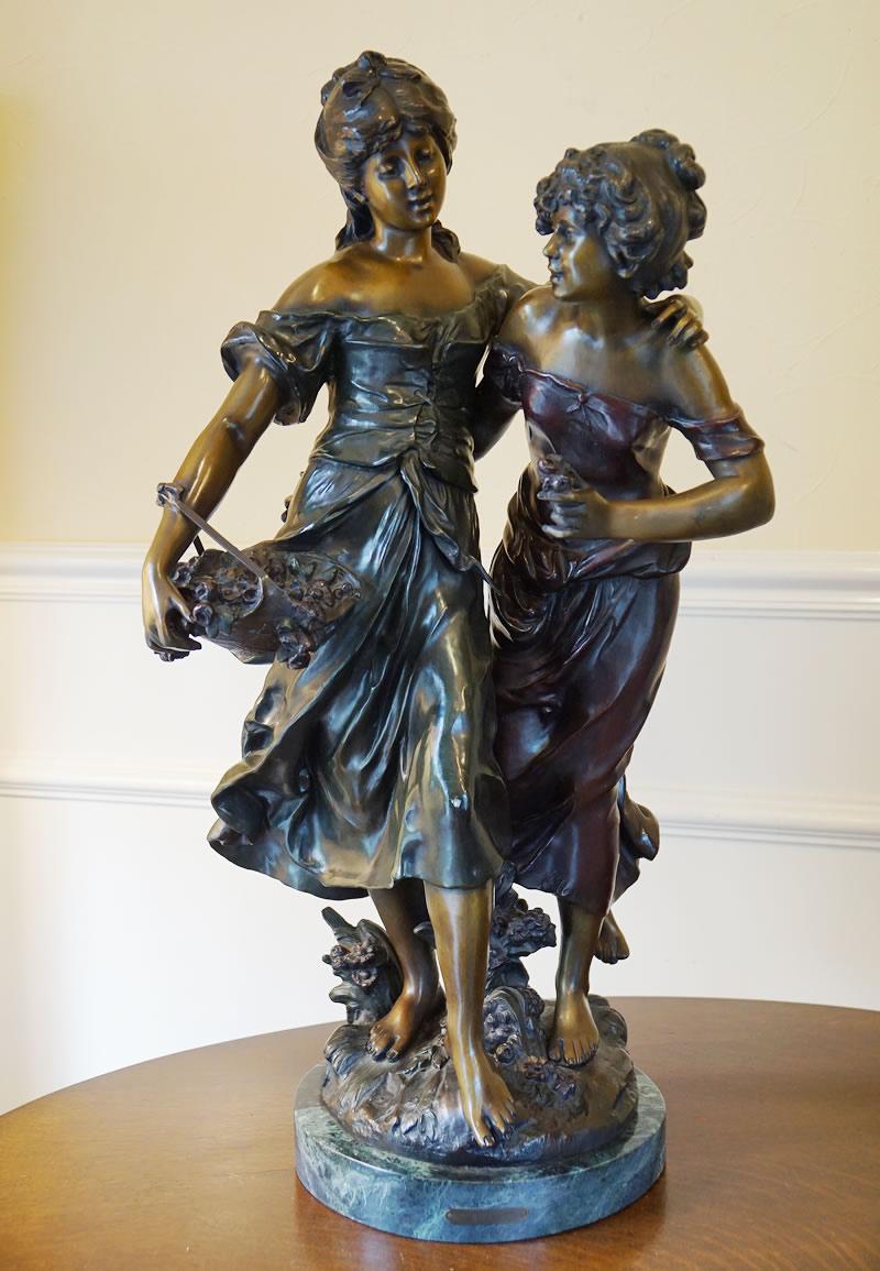 アンティーク ブロンズ像 置物 Auguste Moreau オーギュスト モロー作 少年と少女 オブジェ 大理石 送料無料 ビンテージ インテリア雑貨